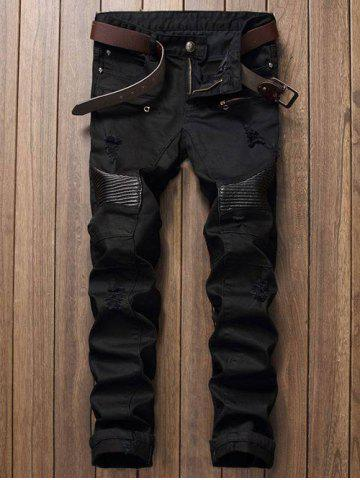 Outfits Zip Fly Straight Leg Biker Jeans BLACK 38