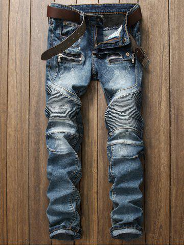 New Zips Embellished Straight Leg Scratched Biker Jeans