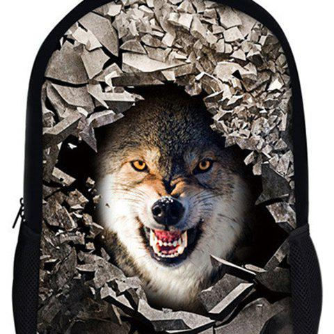Chic 3D Rubble Animal Print Backpack - WHITE  Mobile