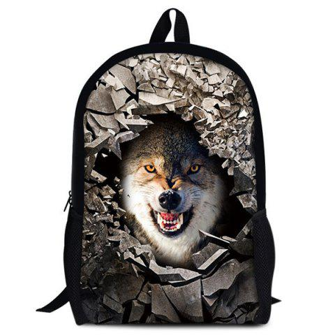 Hot 3D Rubble Animal Print Backpack WHITE