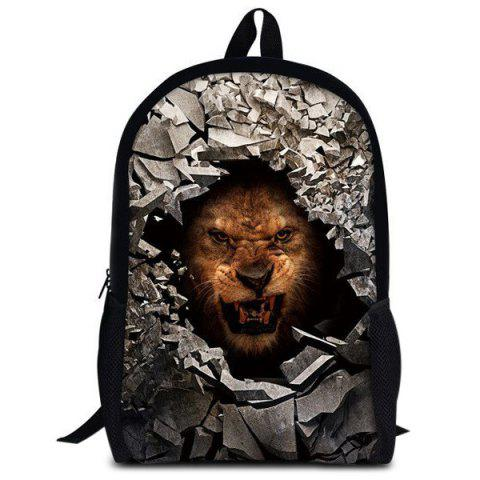 Affordable 3D Rubble Animal Print Backpack - BROWN  Mobile