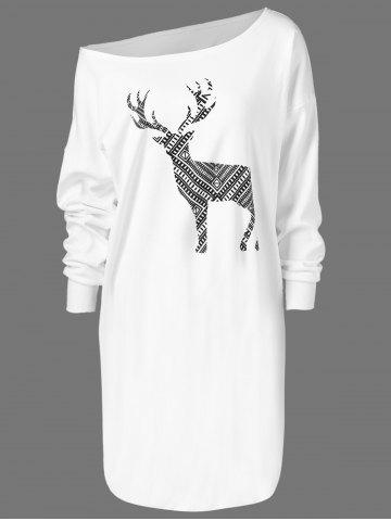 Chic Skew Neck Pullover Sweatshirt With ELK Patterned WHITE XL