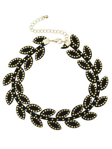 Shop Leaf Rivet Choker Necklace BLACK