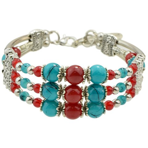 Vintage Fake Gemstone Beads Layered Strand Bracelet - Blue And Red - 40