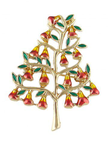 Trendy Alloy Tree Faux Gem Brooch GOLDEN