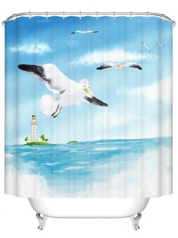Store Sea Gull Print Mildewproof Waterproof  Bath Shower Curtain LIGHT BLUE 200CM*200CM