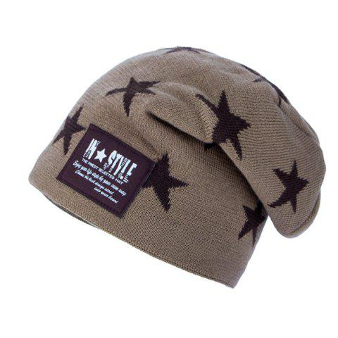 Hot Five Pointed Star Letter Patch Knit Ski Hat