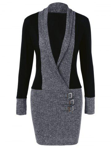 New Knit Trim Bodycon Dress - M BLACK AND GREY Mobile