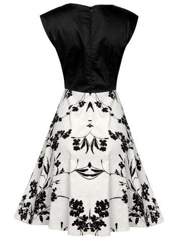 Unique Sweetheart Collar Flower Pattern Vintage Dress - S WHITE AND BLACK Mobile