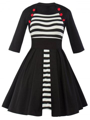 Outfit Vintage Striped Panel Swing Dress - 2XL BLACK Mobile