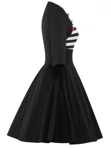 Discount Vintage Striped Panel Swing Dress - XL BLACK Mobile
