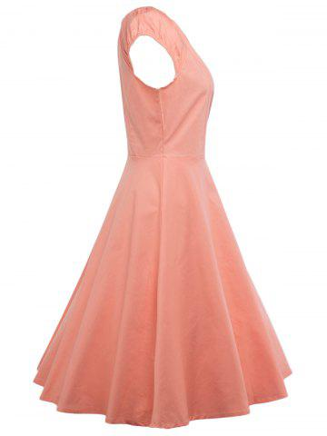 Outfit A Line Puffer Cap Sleep Prom Dress - ORANGEPINK S Mobile