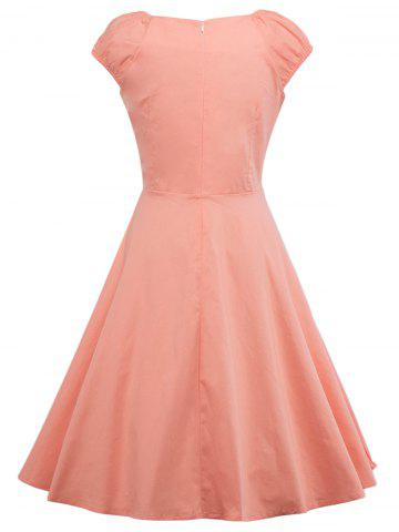 Outfit A Line Puffer Cap Sleep Prom Dress - ORANGEPINK M Mobile