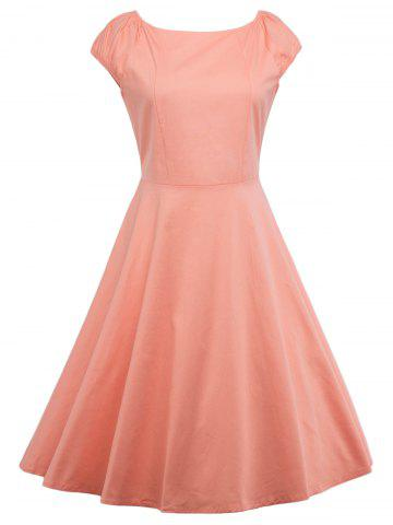 Affordable A Line Puffer Cap Sleep Prom Dress ORANGEPINK XL