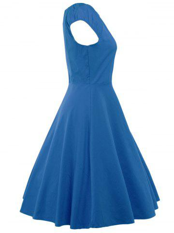 Outfit A Line Puffer Cap Sleep Prom Dress - BLUE L Mobile