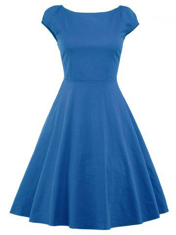 Cheap A Line Puffer Cap Sleep Prom Dress - BLUE L Mobile