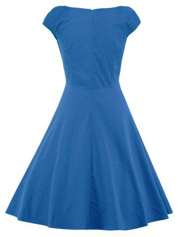 Chic A Line Puffer Cap Sleep Prom Dress - BLUE L Mobile