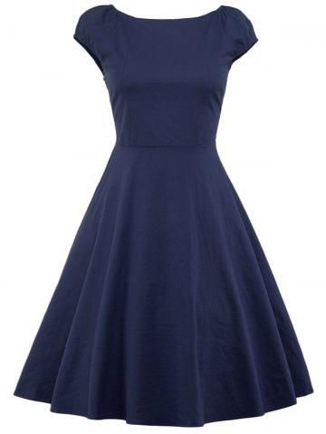 Shop A Line Puffer Cap Sleep Prom Dress - PURPLISH BLUE S Mobile