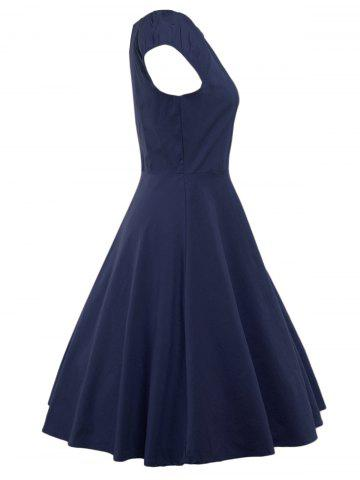 Unique A Line Puffer Cap Sleep Prom Dress - PURPLISH BLUE S Mobile