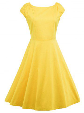 Outfit A Line Puffer Cap Sleep Prom Dress YELLOW S