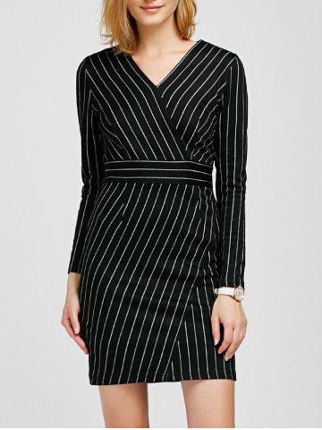 Hot V Neck Long Sleeve Striped Bodycon Dress