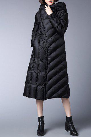 Unique Skirted Hooded Quilted Coat - M BLACK Mobile
