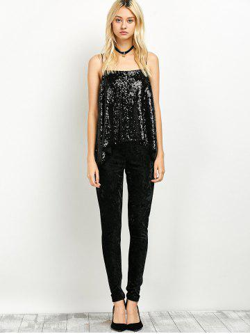 Shop Cami Sequined Loose Tank Top - S BLACK Mobile