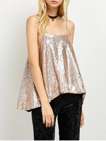 Sale Cami Sequined Loose Tank Top GOLDEN M