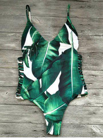 Outfits Cami Palm Tree Cut Out One-Piece Swimwear