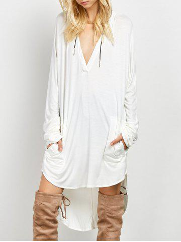 Online Plunge Long Sleeve High Low Casual Dress