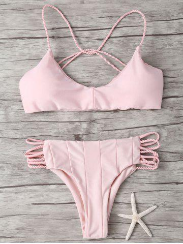 Hot Cami Criss Cross Strappy Bikini Bathing Suit - M PINK Mobile