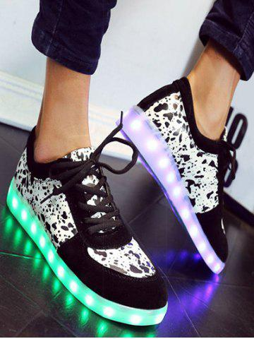 Chic Trendy Lighted and Print Design Sneakers For Women - 39 BLACK Mobile