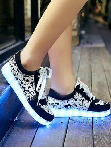 Shop Trendy Lighted and Print Design Sneakers For Women - 39 BLACK Mobile