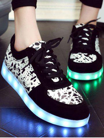 Trendy Trendy Lighted and Print Design Sneakers For Women - 39 BLACK Mobile