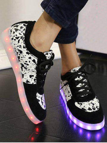 Outfit Trendy Lighted and Print Design Sneakers For Women - 39 BLACK Mobile