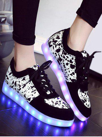 Shops Trendy Lighted and Print Design Sneakers For Women - 39 BLACK Mobile