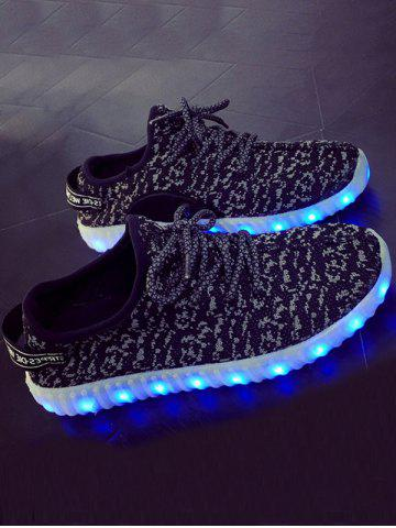 Color Block Lights Up Led Luminous Lace-Up Athletic Shoes - Black - 41