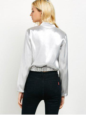 Outfits Zip Up Metallic Color Bomber Jacket - XL SILVER Mobile