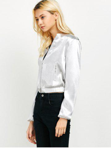 Outfits Zip Up Metallic Color Bomber Jacket - L SILVER Mobile