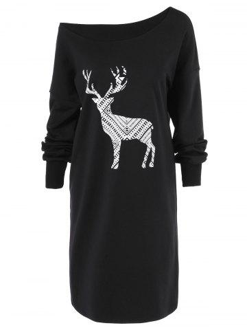 Skew Neck Pullover Sweatshirt With ELK Patterned
