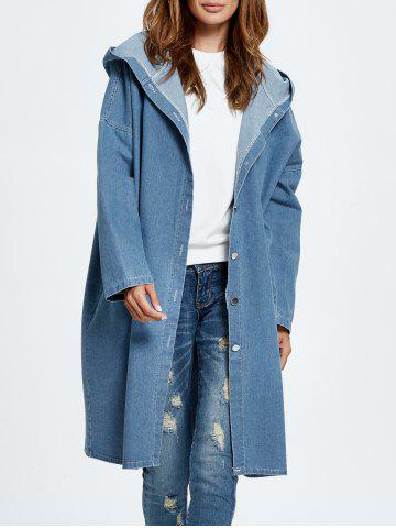 Store Hooded Jean Coat CLOUDY ONE SIZE