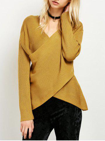 Wrap Ribbed Layered Sweater - Yellow - One Size
