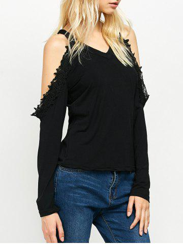 Chic Cold Shoulder Lace Trim Tee BLACK 2XL