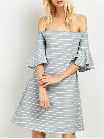 Sale Cut Out Back Off Striped The Shoulder Dress GREY AND WHITE L