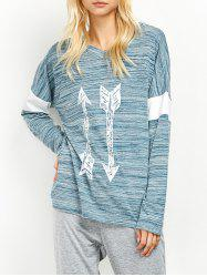 V Neck Space Dyed Arrow Pattern T-Shirt -