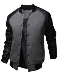 Snap Button Up PU Leather Insert Raglan Sleeve Jacket -