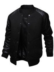 Snap Button Up PU Leather Insert Raglan Sleeve Jacket - BLACK