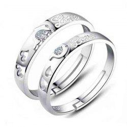 Pair of Graceful Rhinestone Dolphin Heart Ring For Lovers -