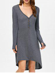 Asymmetrical Long Sleeve Deep V Midi Dress - DEEP GRAY