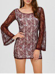 Backless Mini Lace Long Sleeve Dress